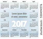 english calendar for 2017 year... | Shutterstock . vector #530494576