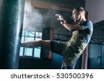 the young man workout a kick on ... | Shutterstock . vector #530500396