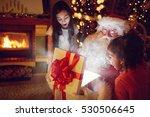 santa claus with little girls... | Shutterstock . vector #530506645