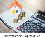 house model and coin on bank... | Shutterstock . vector #530508196