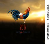polygonal rooster on sunrise  ... | Shutterstock .eps vector #530510866
