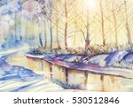 watercolor christmas snowy and... | Shutterstock . vector #530512846