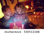christmas surprise in red box... | Shutterstock . vector #530513188