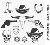 set of wild west cowboy... | Shutterstock .eps vector #530547886