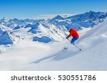 skiing with amazing view of... | Shutterstock . vector #530551786