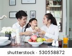 asian family laughing around a... | Shutterstock . vector #530558872