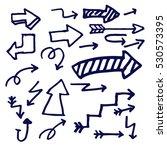 hand drawn arrows doodle set... | Shutterstock .eps vector #530573395