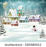 winter village background with... | Shutterstock .eps vector #530580412