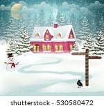 winter village background with... | Shutterstock .eps vector #530580472