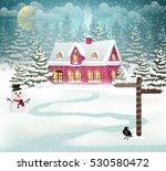 winter village background with...   Shutterstock .eps vector #530580472