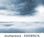 Small photo of Winter background. Winter landscape with snow field and storm clouds