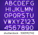 glowing purple neon alphabet... | Shutterstock .eps vector #530592742