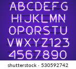 glowing purple neon alphabet... | Shutterstock .eps vector #530592742