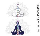 chakra system  asana padmasana  ... | Shutterstock .eps vector #530604766