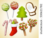 christmas icon set. vector... | Shutterstock .eps vector #530621782