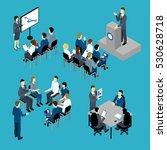 business training isometric set ... | Shutterstock .eps vector #530628718