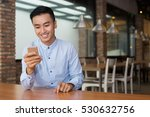 smiling asian man using... | Shutterstock . vector #530632756