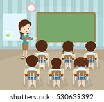 classroom with teacher and... | Shutterstock .eps vector #530639392