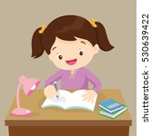 cute girl writing and thinking... | Shutterstock .eps vector #530639422