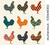collection of roosters... | Shutterstock .eps vector #530648302