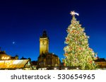 Traditional christmas market in the historic center of Prague, Czech Republic