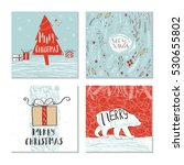 set of 4 cute christmas cards... | Shutterstock .eps vector #530655802