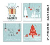 set of 4 cute christmas cards... | Shutterstock .eps vector #530655835
