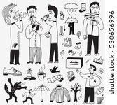 sick people   autumn doodles | Shutterstock .eps vector #530656996