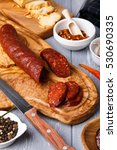 Salami With Paprika. Rustic...