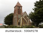 Anglical cathedral in Port Stanley, Falkland Islands - stock photo