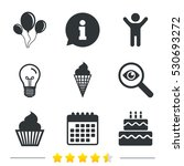birthday party icons. cake with ... | Shutterstock .eps vector #530693272