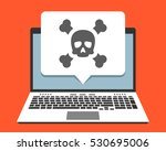 laptop and skull icon on screen ... | Shutterstock .eps vector #530695006