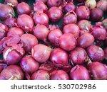 red onions in plenty on display ... | Shutterstock . vector #530702986