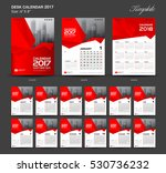set red desk calendar 2017 year ... | Shutterstock .eps vector #530736232