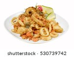 mixed fried fish shrimp  squid... | Shutterstock . vector #530739742