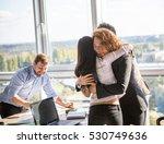 business ladies hugging showing ... | Shutterstock . vector #530749636