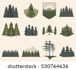Forest Tree Silhouette Set.