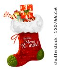 christmas sock with gift winter ... | Shutterstock .eps vector #530766556