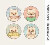 stickers set with cute cartoon... | Shutterstock .eps vector #530766802