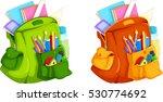 illustration of full backpack... | Shutterstock .eps vector #530774692