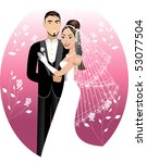 Vector Illustration. A beautiful bride and groom on their wedding day. Wedding Couple. I have other variations of wedding brides, bridesmaids and couples. - stock vector