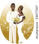 Vector Illustration. A beautiful bride and groom on their wedding day. African American Wedding Couple. Bride Groom 2. - stock vector
