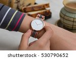 girl's hand with wrist watches... | Shutterstock . vector #530790652
