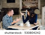 young couple arguing in a cafe. ... | Shutterstock . vector #530804242