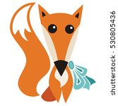 cute cartoon fox. vector... | Shutterstock .eps vector #530805436