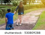 woman walking out of the lives... | Shutterstock . vector #530809288