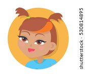 girl with two red pigtails and... | Shutterstock .eps vector #530814895