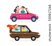 driver wite car and young woman | Shutterstock .eps vector #530817268