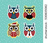 cool funny adorable owl | Shutterstock . vector #530835082