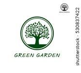 green vector tree in border.... | Shutterstock .eps vector #530837422